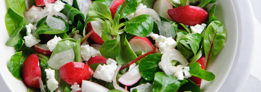 Radish, Feta and Baby Leaves Salad
