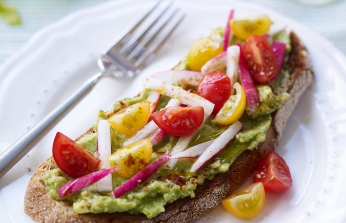 Avocado Toast with Isle of Wight Tomatoes, Radishes & Cayenne pepper