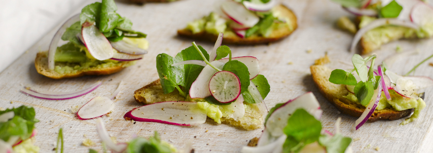 Toasted Sourdough with Avocado, Radish and Watercress