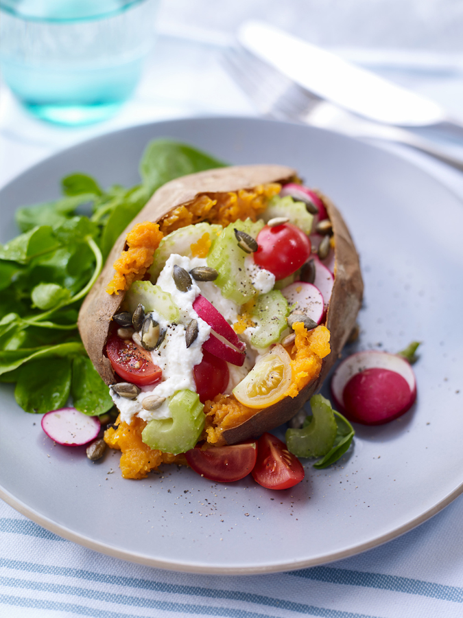 Sweet Potato Topped with Ricotta, Celery and & Radish