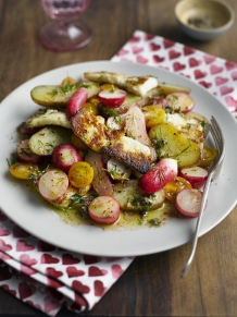 A warm radish, halloumi, potato and Isle of Wight cherry tomato salad with a mustard and dill dressing