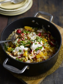 Radish and pumpkin pilaf with almonds and Greek yogurt
