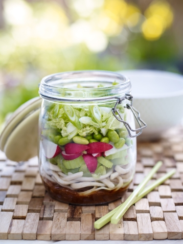 Jam jar radish and spring onion salad