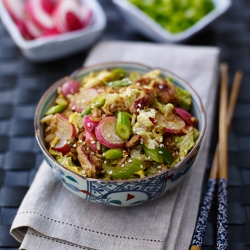 Radish and spring onion special fried rice