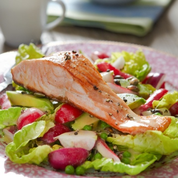Lowri Turner's pan-fried salmon with radish, avocado and pumpkin seed salad