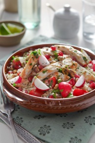 Lowri Turner's radish and quinoa tabouleh with with pistachios and grilled, herbed chicken