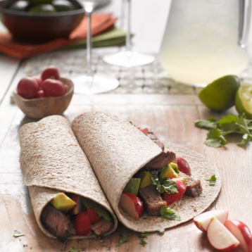 Mexican beef wraps with radish and avocado salsa