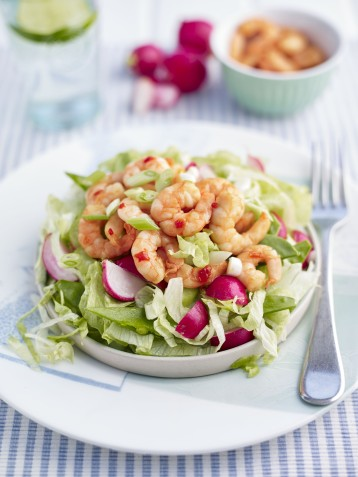 Prawn, radish and chilli salad