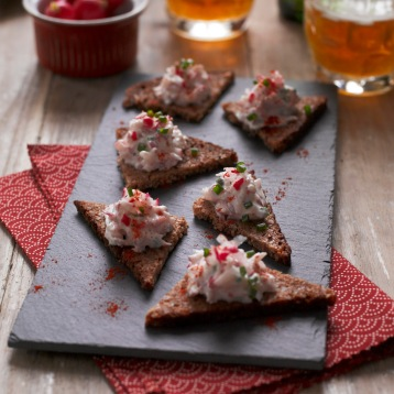 Polish farmer's radish and cheese spread canapes