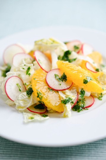 Radish and citrus Chinese leaf salad