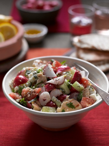 Radish Fattoush with flatbread