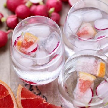 Radish and Pink Grapefruit Ice Cubes
